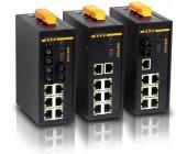 SICOM3009A Switch, 9 portový mažovatelný switch na DIN lištu, 8 ethernetových portů 10/100M, 1-3 optických portů, FOXON
