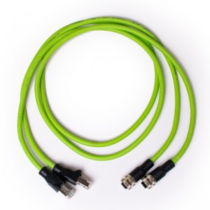 2× PROFINET RJ45 (m) – M12 (f) D coded 1m adapter cable for Navitek IE